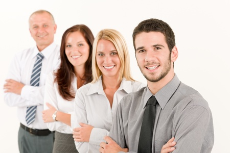 four people: Business team happy mature man colleagues standing in line portrait