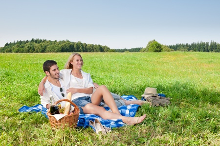 Picnic - Romantic happy couple in meadows nature  sunny day Stock Photo - 10671694