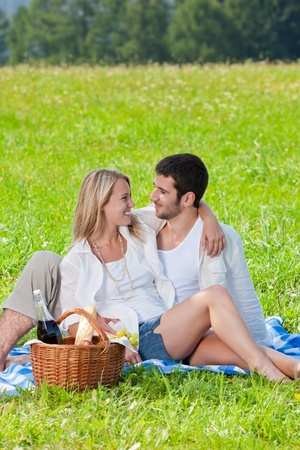 lovers park: Picnic - Romantic happy couple in meadows nature  sunny day