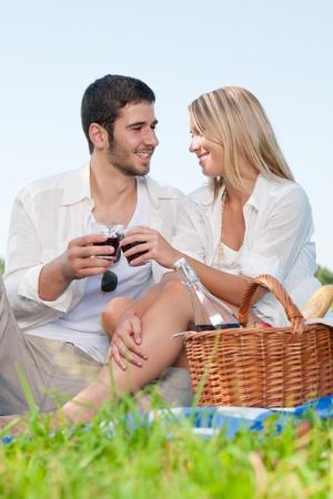 Picnic - Romantic happy couple celebrating with wine in sunny nature photo