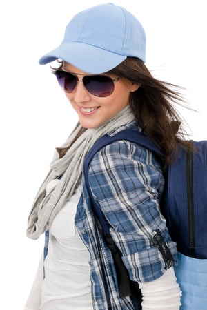 Smiling female teenager girl wear cool outfit and sunglasses Stock Photo - 10799198