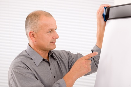 mature businessman: Mature handsome businessman pointing at empty flip chart looking aside