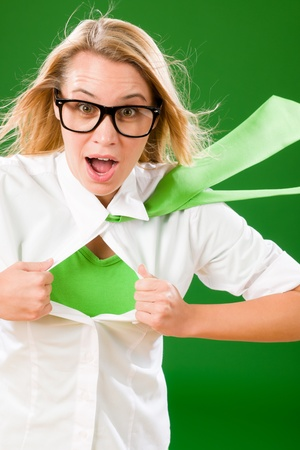 undressing woman: Green Superhero Businesswoman crazy face  Emerges from shirt