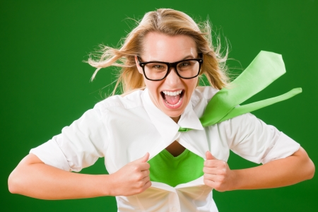 Green Superhero Businesswoman crazy face  Emerges from shirt photo