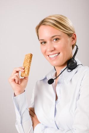 Customer care service center woman operator have break phone headset photo