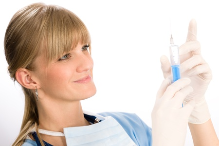 Young medical nurse doctor female hold injection isolated Stock Photo - 11950858
