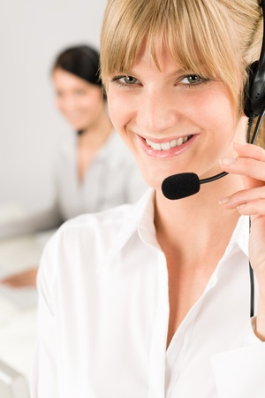 Customer service team woman call center smiling operator phone headset Stock Photo - 11950871