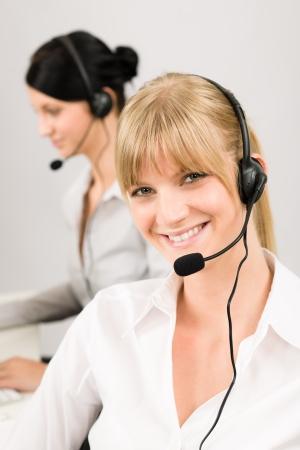 Customer service team woman call center smiling operator phone headset Stock Photo - 14505018