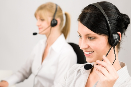 Customer service team woman call center smiling operator phone headset Stock Photo - 14504960