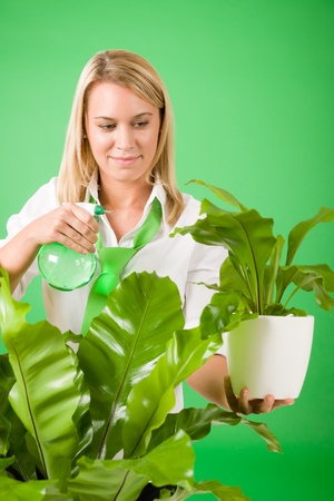 houseplant: Green business woman water houseplant environment friendly smile