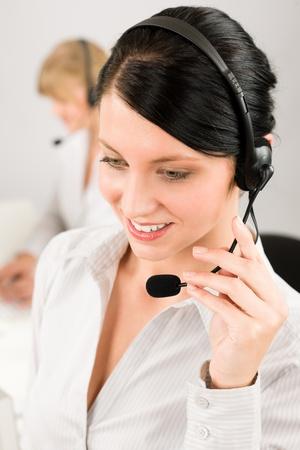 Customer service team woman call center smiling operator phone headset photo