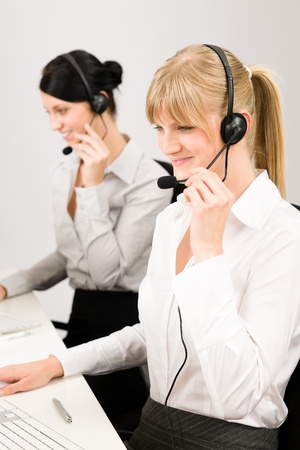 IT support: Customer service team woman call center smiling operator phone headset