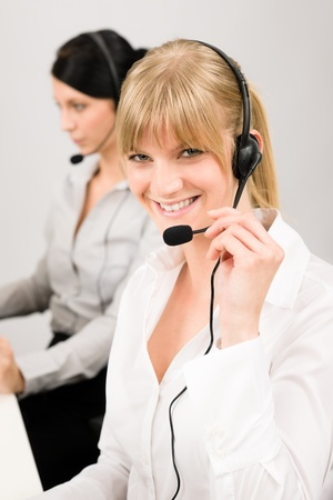 Customer service team woman call center smiling operator phone headset photo