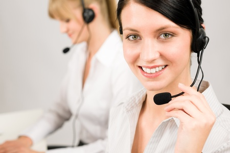 Customer service team woman call center smiling operator phone headset Stock Photo - 12343421