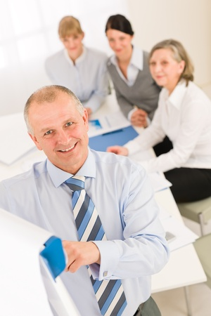 Giving presentation executive businessman pointing at flip chart team looking photo