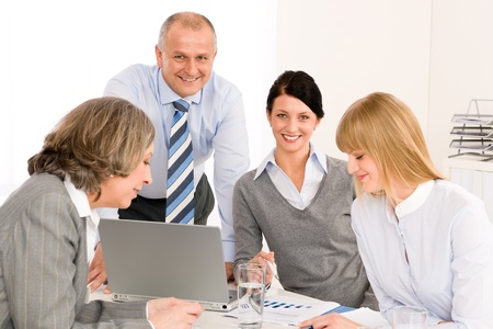 Business team meeting executive businessman with happy colleagues in office Stock Photo - 12343650