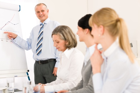 Giving presentation executive businessman during meeting pointing at colleagues Stock Photo - 12343614