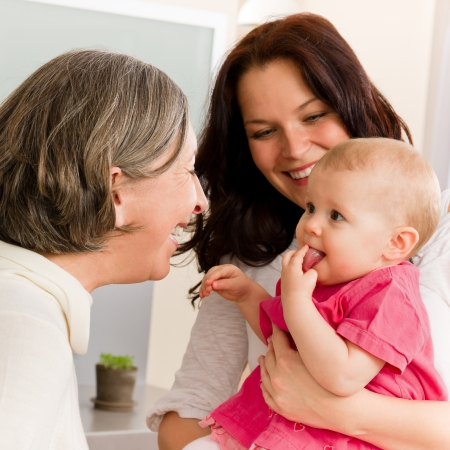 Happy family women - grandmother, mother and baby make funny face Stock Photo - 12758035