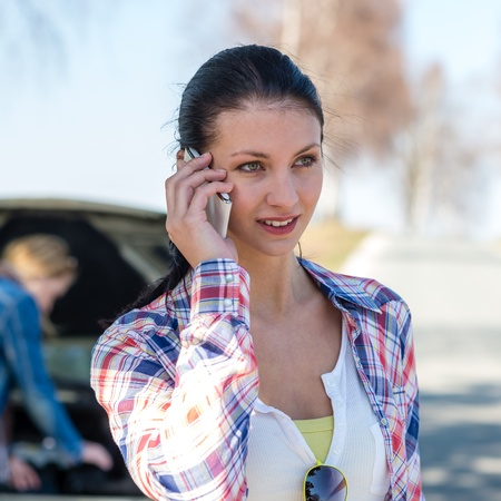 Broken car young woman call road help need of assistance Stock Photo - 13125665