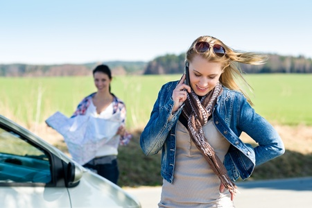 Lost with car two young women call for help Stock Photo - 13152497