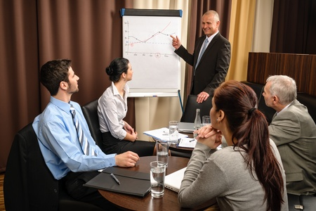 Executive businessman giving presentation on flip-chart to team formalwear photo