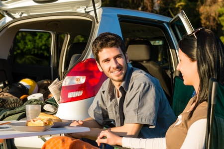 Camping car happy young couple enjoy picnic sunny countryside Stock Photo - 13258488