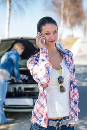 Car defect young woman call road help need of assistance Stock Photo - 13260086