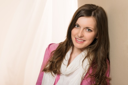 Young woman smiling brunette wear pink top Stock Photo - 13563736