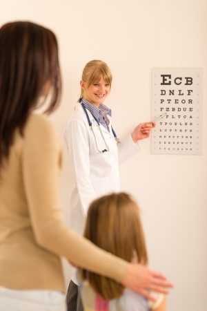 Female pediatrician ophthalmologist child pointing at eye chart medical office photo
