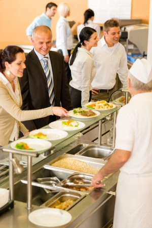 canteen: Business people take lunch meal in cafeteria display cabinet