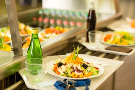 canteen: Canteen serving tray healthy fresh salad cafeteria lunch food self-service Stock Photo