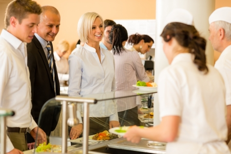 cafeterias: Cook serve meals business woman take lunch in cafeteria