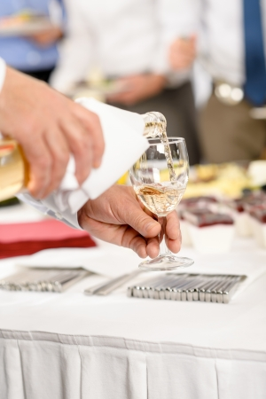 Business buffet lunch caterer serve wine appetizer company meeting photo