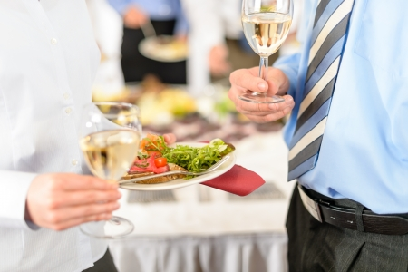 Refreshments at business meeting close-up appetizer plate and wine Stock Photo - 13736856