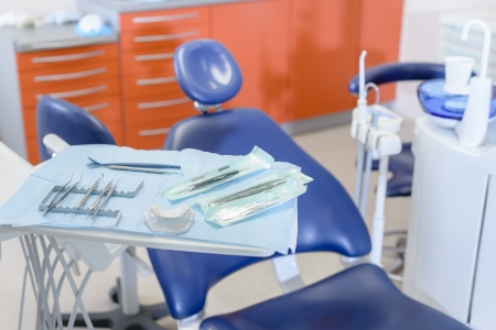 dental office: Close-up of dental tool equipment in stomatology clinic