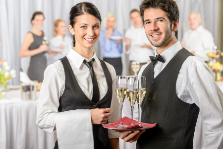 party tray: Professional catering service business event serving drinks to guests Stock Photo