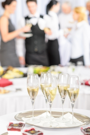 formal dinner party: Champagne toast glasses for business meeting conference participants Stock Photo
