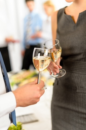 formal dinner party: Cheers toast of company partners at meeting celebrate cooperation Stock Photo