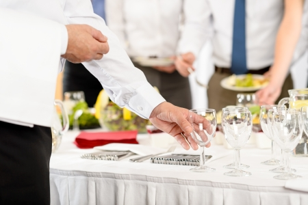 Business catering glasses for company formal celebration close-up