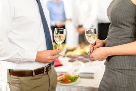 aperitif: Cheers toast of company partners at meeting celebrate cooperation Stock Photo
