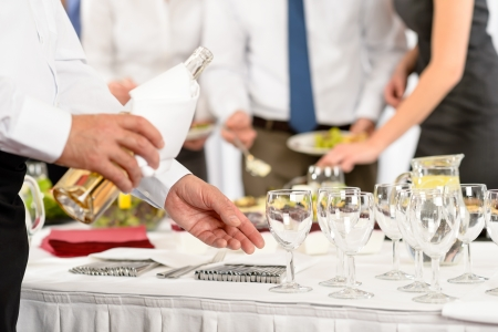 serve: Business buffet lunch caterer serve wine appetizer company meeting