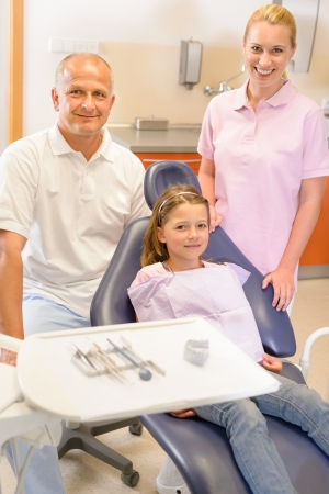 Portrait of dental team with young girl in stomatology clinic photo