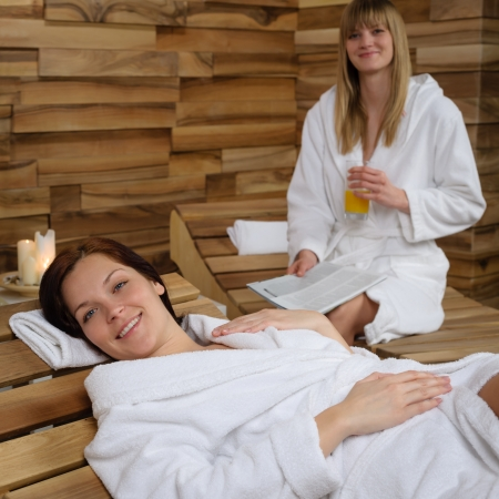 Smiling woman enjoying herself relax at spa center wellness treatment Stock Photo - 14010849
