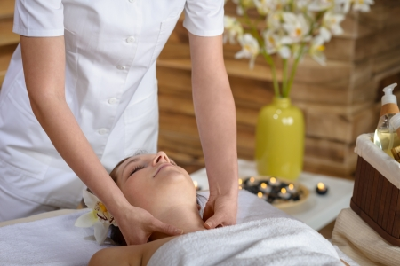 Woman getting neck massage at luxury spa centre Stock Photo - 14030618