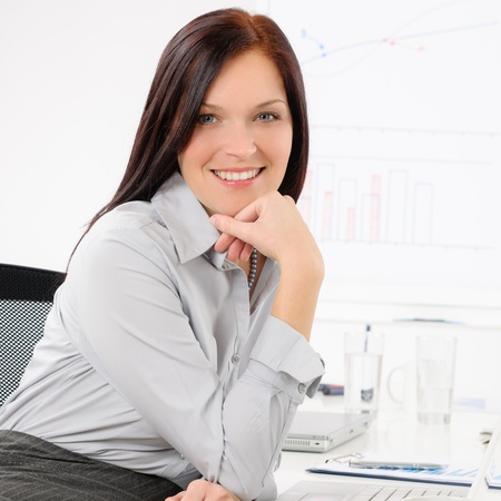 Professional businesswoman attractive smiling portrait in office Stock Photo - 14033549