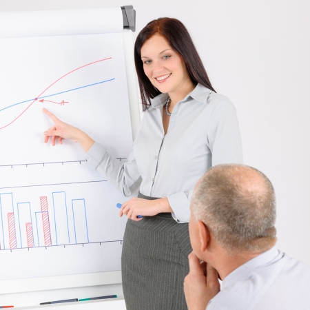 Giving presentation young executive during meeting woman pointing flip chart Stock Photo - 14065130