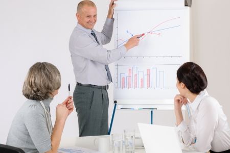 Giving presentation executive businessman during meeting pointing at colleagues photo