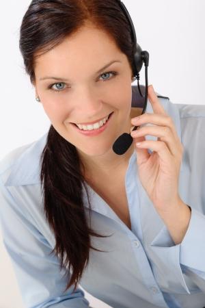 Customer care service center woman call operator phone headset photo