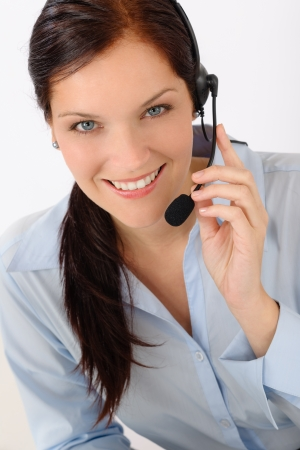Customer care service center woman call operator phone headset photo