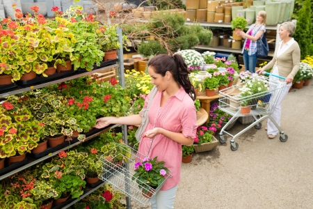 product range: Woman buying potted flower in garden centre shopping basket greenhouse Stock Photo